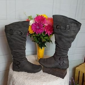 Maurices Wanda Grey Wide Calf  Faux Suede Boot